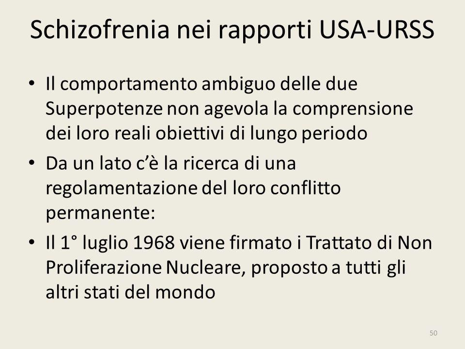 Schizofrenia nei rapporti USA-URSS Il comportamento ambiguo delle due Superpotenze non agevola la comprensione dei loro reali obiettivi di lungo perio