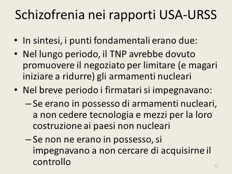 Schizofrenia nei rapporti USA-URSS In sintesi, i punti fondamentali erano due: Nel lungo periodo, il TNP avrebbe dovuto promuovere il negoziato per li