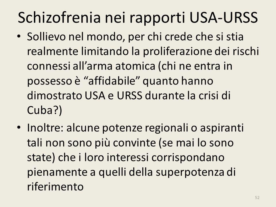 Schizofrenia nei rapporti USA-URSS Sollievo nel mondo, per chi crede che si stia realmente limitando la proliferazione dei rischi connessi all'arma at