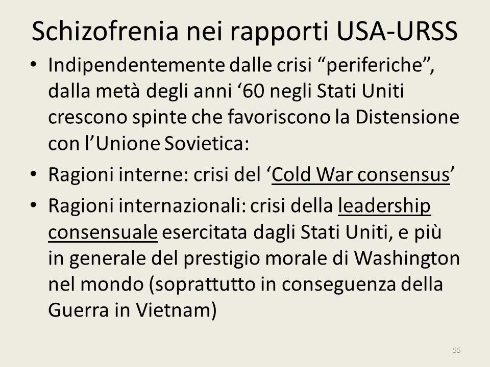 """Schizofrenia nei rapporti USA-URSS Indipendentemente dalle crisi """"periferiche"""", dalla metà degli anni '60 negli Stati Uniti crescono spinte che favori"""