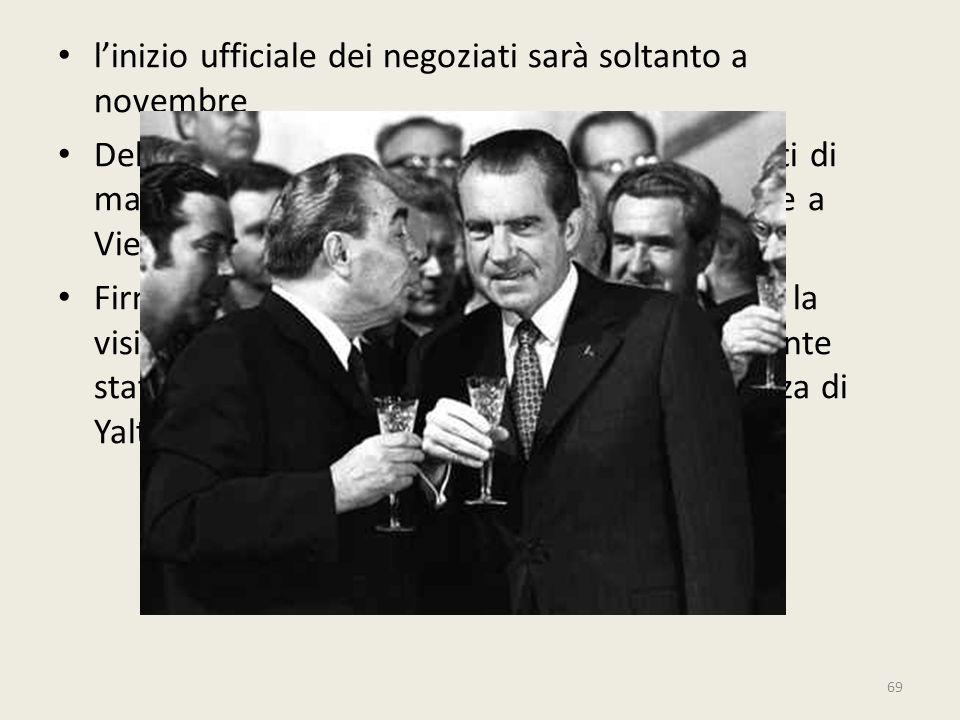 69 l'inizio ufficiale dei negoziati sarà soltanto a novembre Delegazioni sovietiche e americane con esperti di massimo livello si incontrano alternati