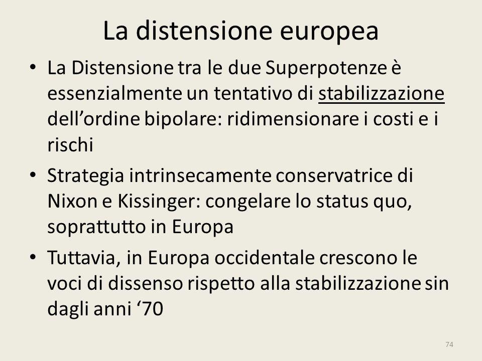 La distensione europea La Distensione tra le due Superpotenze è essenzialmente un tentativo di stabilizzazione dell'ordine bipolare: ridimensionare i
