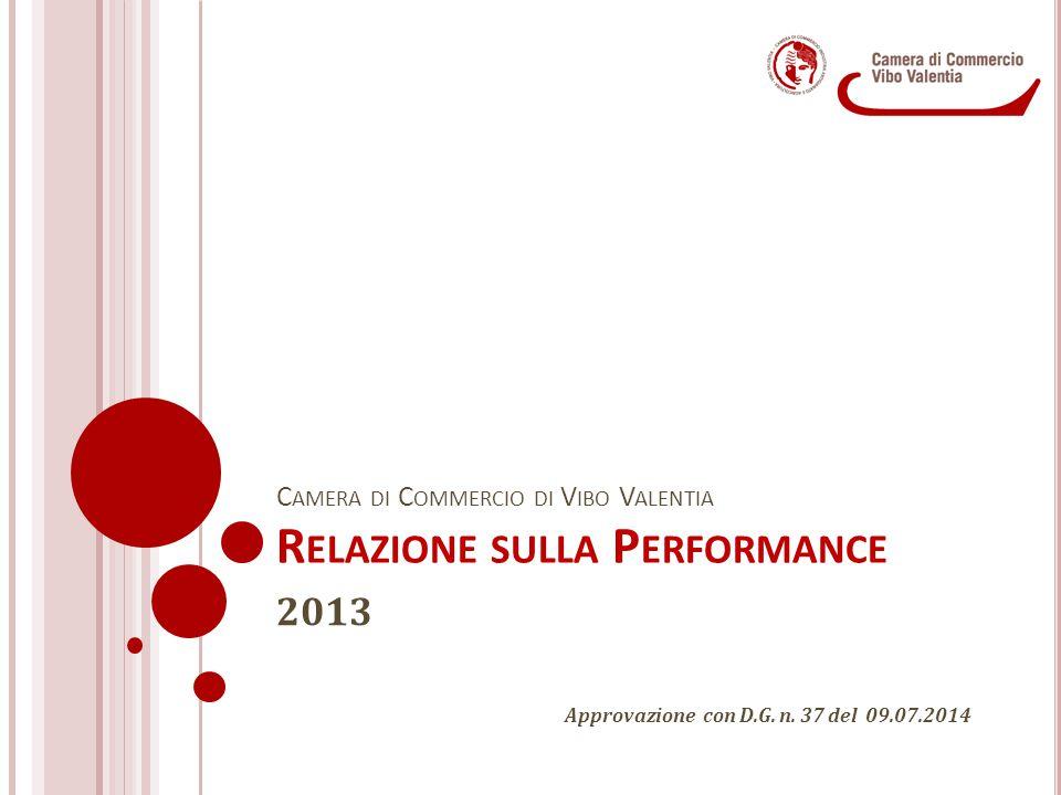 C AMERA DI C OMMERCIO DI V IBO V ALENTIA R ELAZIONE SULLA P ERFORMANCE 2013 Approvazione con D.G. n. 37 del 09.07.2014
