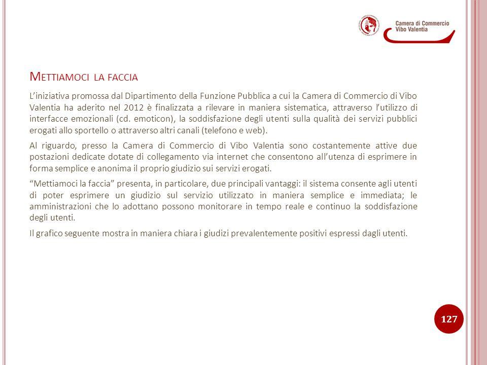M ETTIAMOCI LA FACCIA L'iniziativa promossa dal Dipartimento della Funzione Pubblica a cui la Camera di Commercio di Vibo Valentia ha aderito nel 2012