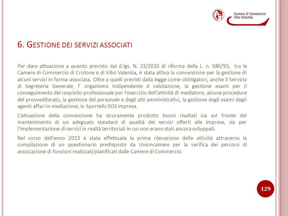 6. G ESTIONE DEI SERVIZI ASSOCIATI Per dare attuazione a quanto previsto dal d.lgs. N. 23/2010 di riforma della L. n. 580/93, tra le Camere di Commerc