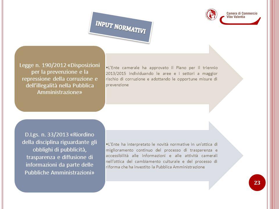 L'Ente camerale ha approvato il Piano per il triennio 2013/2015 individuando le aree e i settori a maggior rischio di corruzione e adottando le opport