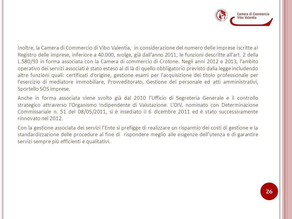 Inoltre, la Camera di Commercio di Vibo Valentia, in considerazione del numero delle imprese iscritte al Registro delle imprese, inferiore a 40.000, s