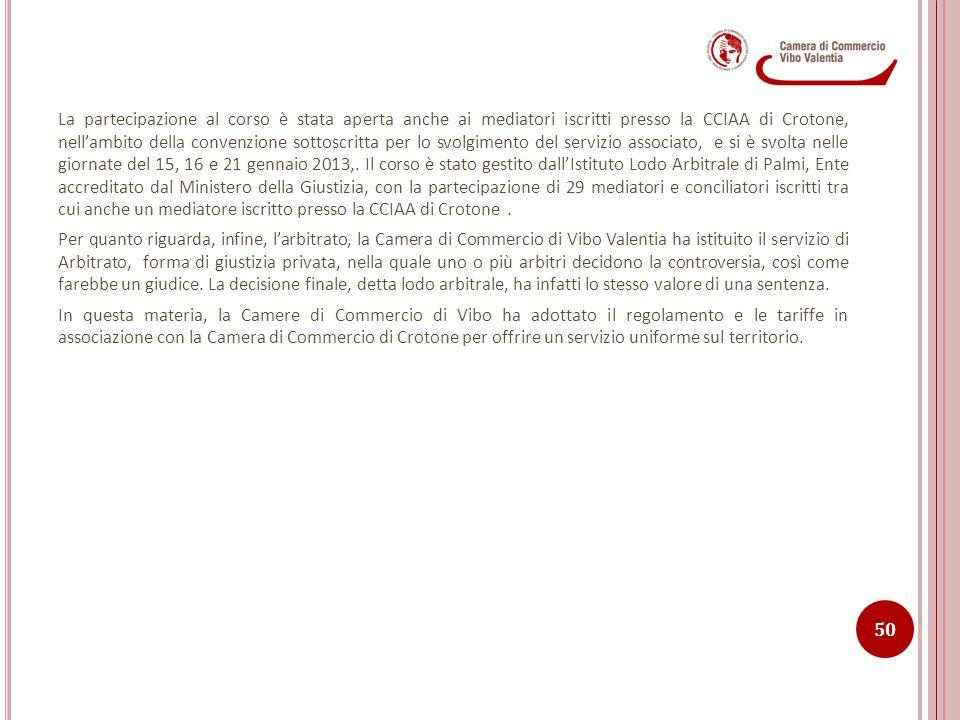 La partecipazione al corso è stata aperta anche ai mediatori iscritti presso la CCIAA di Crotone, nell'ambito della convenzione sottoscritta per lo sv