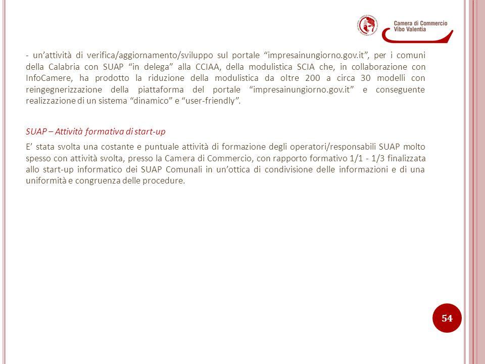 """- un'attività di verifica/aggiornamento/sviluppo sul portale """"impresainungiorno.gov.it"""", per i comuni della Calabria con SUAP """"in delega"""" alla CCIAA,"""