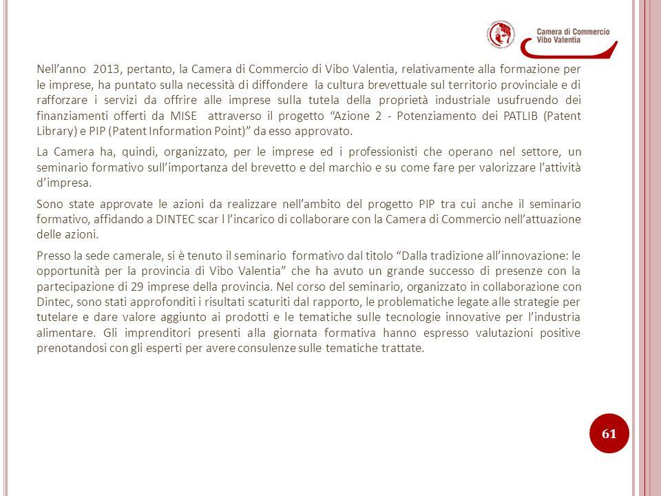 Nell'anno 2013, pertanto, la Camera di Commercio di Vibo Valentia, relativamente alla formazione per le imprese, ha puntato sulla necessità di diffond