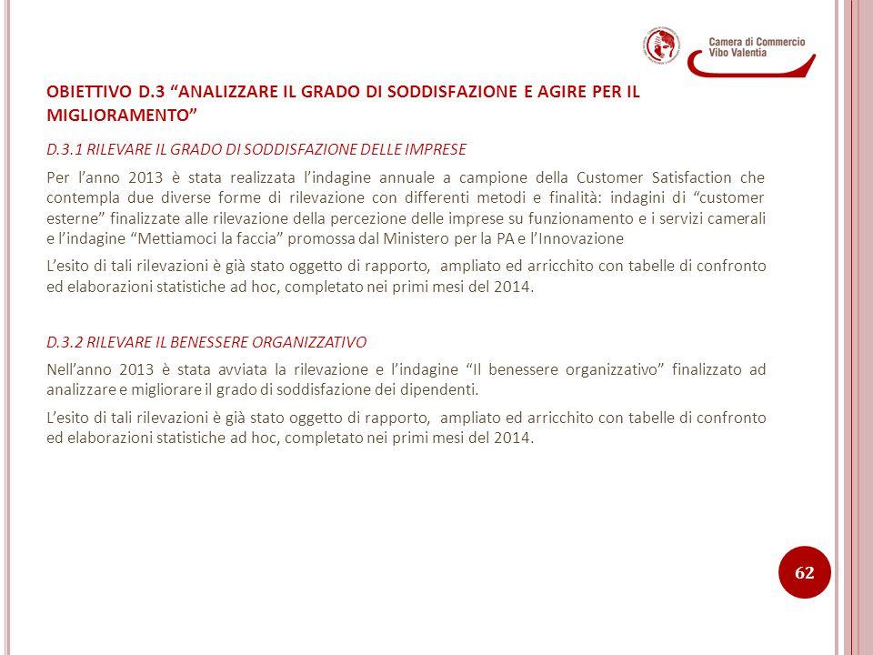 D.3.1 RILEVARE IL GRADO DI SODDISFAZIONE DELLE IMPRESE Per l'anno 2013 è stata realizzata l'indagine annuale a campione della Customer Satisfaction ch