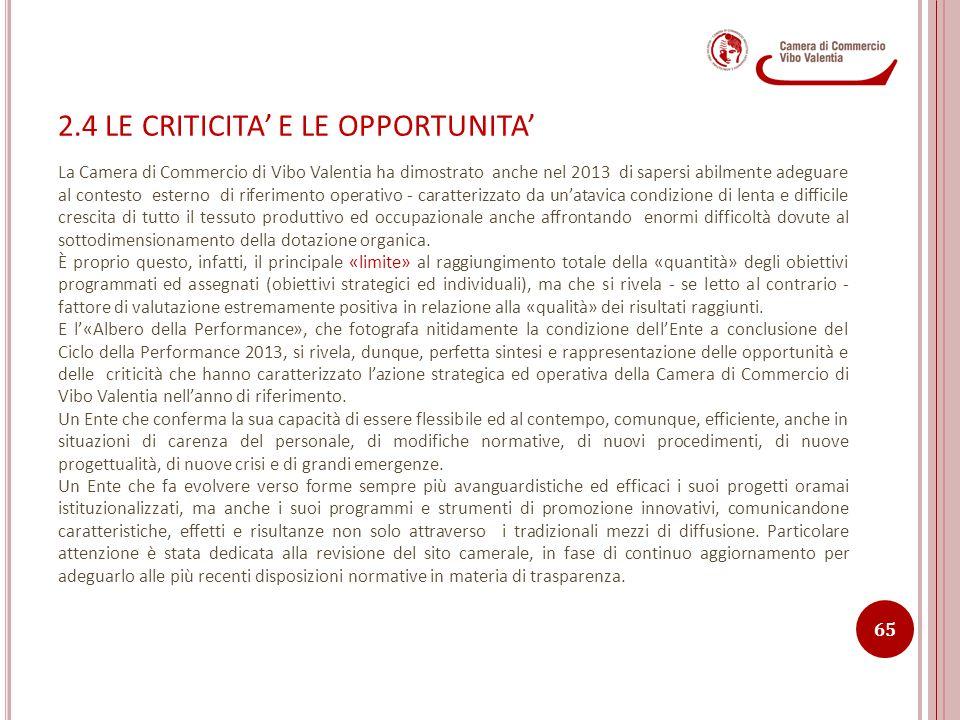 2.4 LE CRITICITA' E LE OPPORTUNITA' La Camera di Commercio di Vibo Valentia ha dimostrato anche nel 2013 di sapersi abilmente adeguare al contesto est