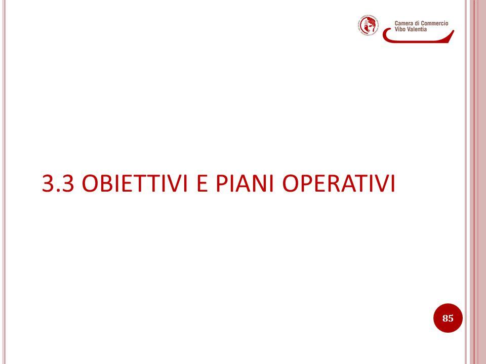 3.3 OBIETTIVI E PIANI OPERATIVI 85