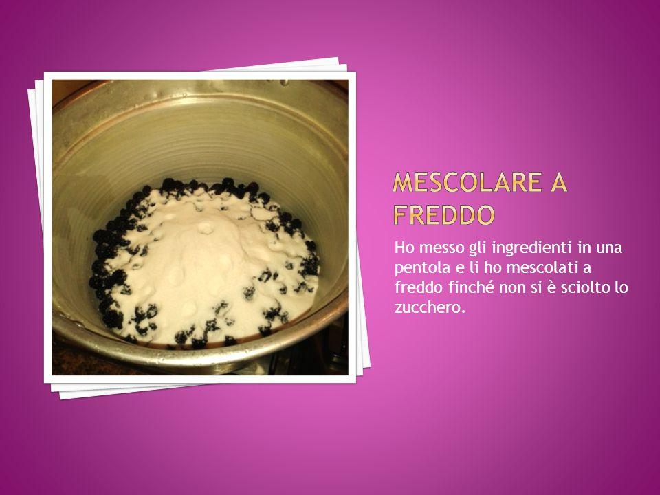 Ho messo gli ingredienti in una pentola e li ho mescolati a freddo finché non si è sciolto lo zucchero.