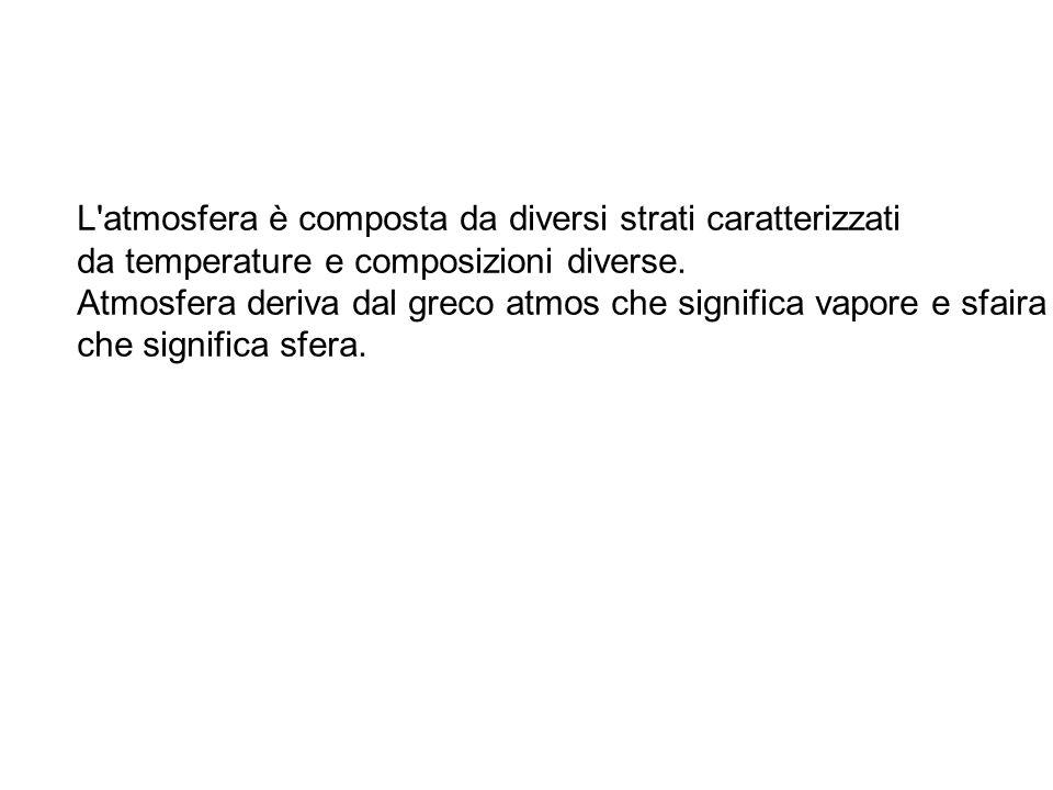 L'atmosfera è composta da diversi strati caratterizzati da temperature e composizioni diverse. Atmosfera deriva dal greco atmos che significa vapore e