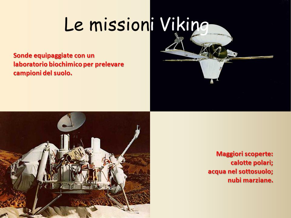 Le missioni Viking Sonde equipaggiate con un laboratorio biochimico per prelevare campioni del suolo. Maggiori scoperte: calotte polari; calotte polar