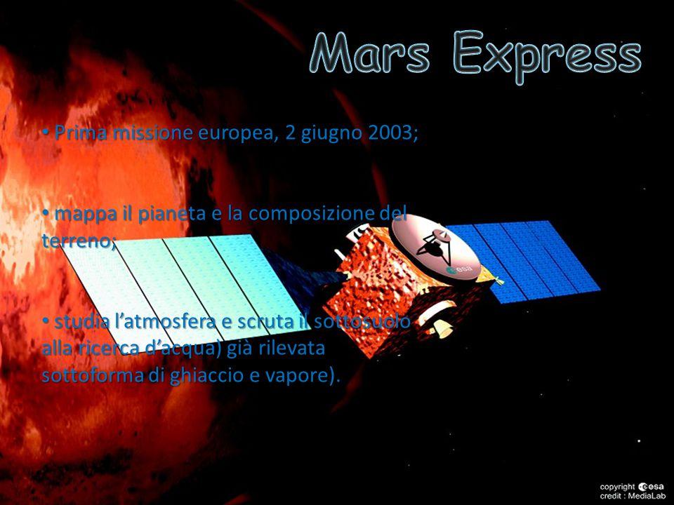 Prima missione europea, 2 giugno 2003; Prima missione europea, 2 giugno 2003; mappa il pianeta e la composizione del terreno; mappa il pianeta e la composizione del terreno; studia l'atmosfera e scruta il sottosuolo alla ricerca d'acqua) già rilevata sottoforma di ghiaccio e vapore).