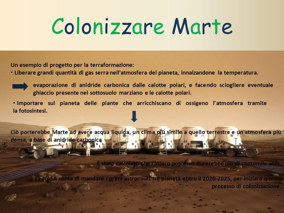 Colonizzare MarteColonizzare Marte Un esempio di progetto per la terraformazione: Liberare grandi quantità di gas serra nell atmosfera del pianeta, innalzandone la temperatura.
