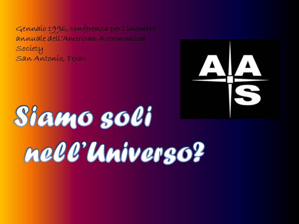 Gennaio 1996, conferenza per l'incontro annuale dell'American Astronomical Society San Antonio, Texas