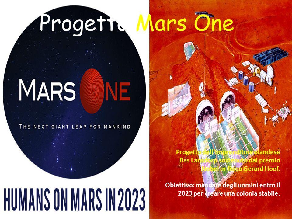 Progetto Mars One Progetto dell'imprenditore olandese Bas Lansdorp sostenuto dal premio Nobel in fisica Gerard Hoof. Obiettivo: mandare degli uomini e