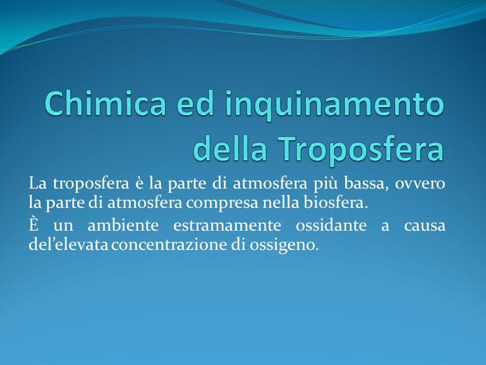 La troposfera è la parte di atmosfera più bassa, ovvero la parte di atmosfera compresa nella biosfera. È un ambiente estramamente ossidante a causa de