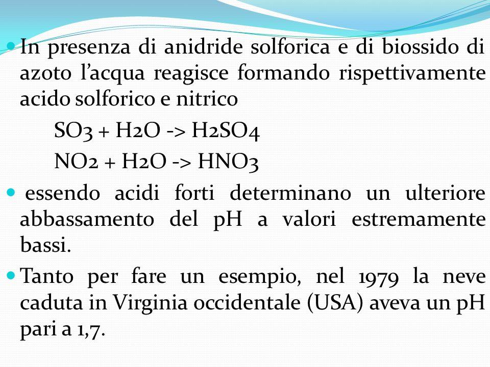 In presenza di anidride solforica e di biossido di azoto l'acqua reagisce formando rispettivamente acido solforico e nitrico SO3 + H2O -> H2SO4 NO2 +