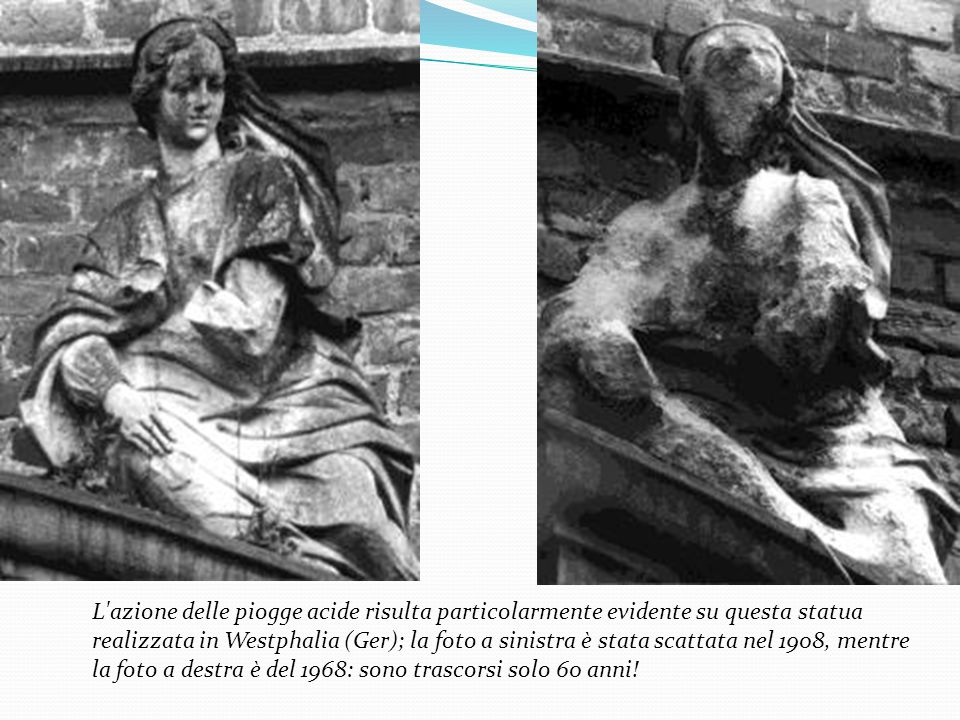 L'azione delle piogge acide risulta particolarmente evidente su questa statua realizzata in Westphalia (Ger); la foto a sinistra è stata scattata nel