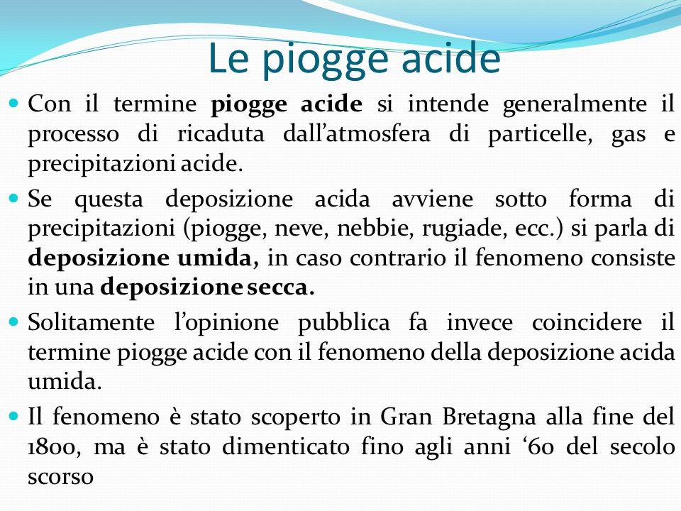 Le piogge acide Con il termine piogge acide si intende generalmente il processo di ricaduta dall'atmosfera di particelle, gas e precipitazioni acide.