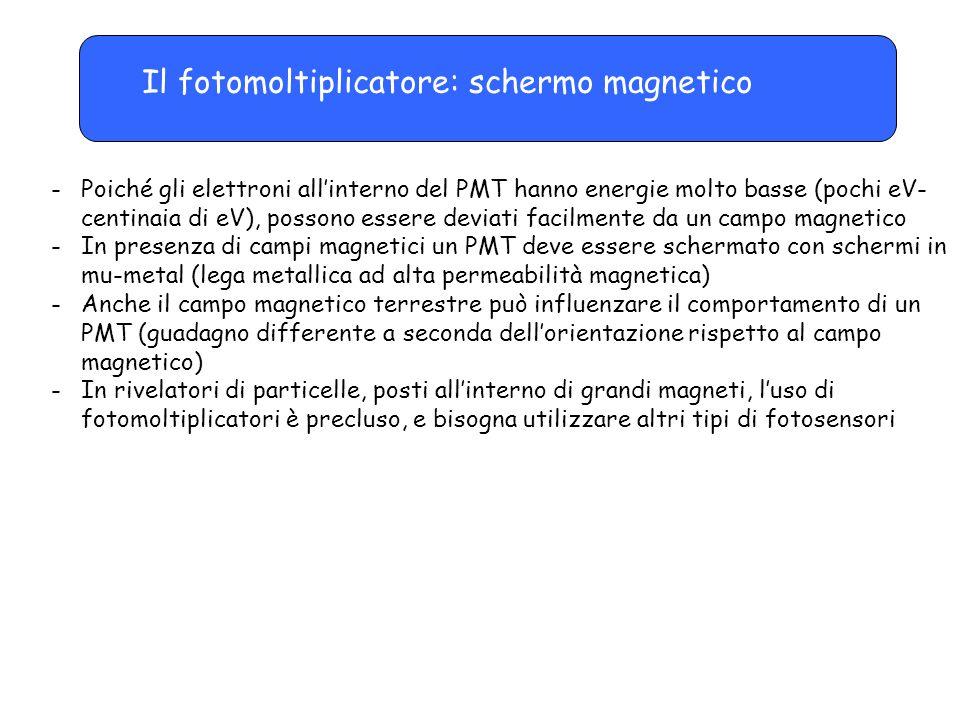 Il fotomoltiplicatore: schermo magnetico -Poiché gli elettroni all'interno del PMT hanno energie molto basse (pochi eV- centinaia di eV), possono esse