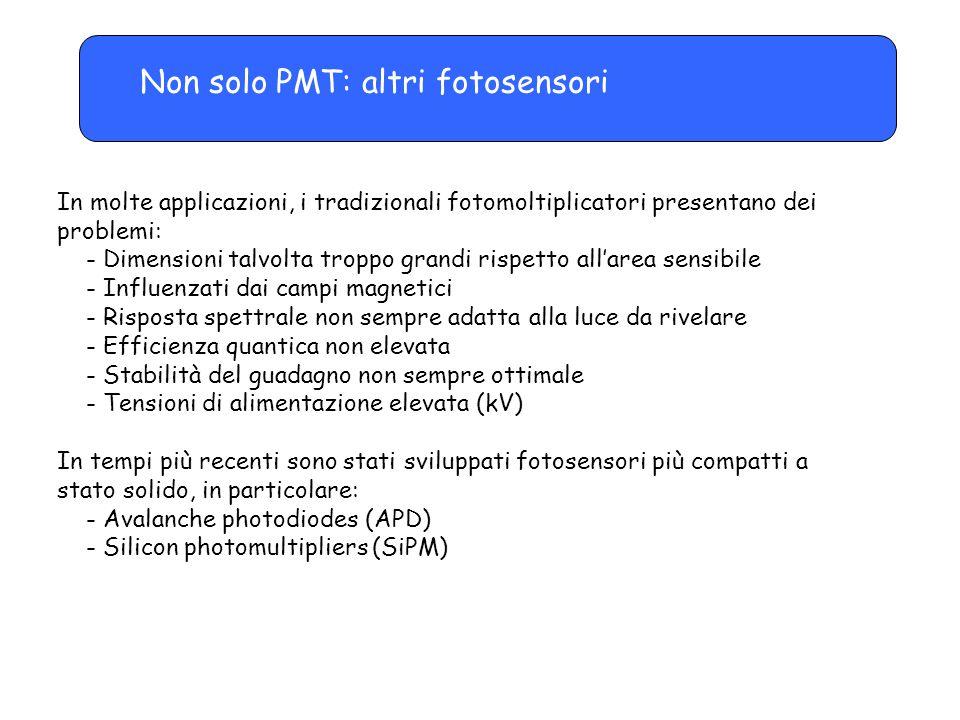 Non solo PMT: altri fotosensori In molte applicazioni, i tradizionali fotomoltiplicatori presentano dei problemi: - Dimensioni talvolta troppo grandi