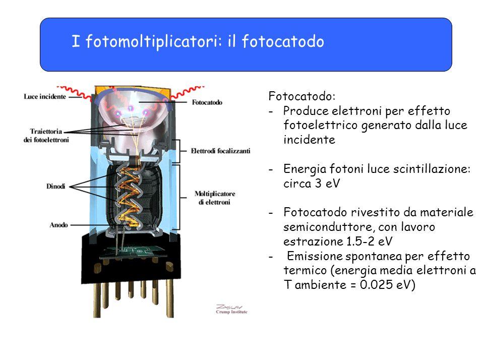 Il fotomoltiplicatore: emissione spontanea e dark current Emissione spontanea di elettroni dal fotocatodo per effetto termico Energia media degli elettroni a T ambiente = 0.025 eV La distribuzione in energia degli elettroni fa sì che una certa frazione possa avere energia sufficiente a sfuggire Rate di emissione a T ambiente: Nei metalli: circa 100/s m 2 Nei semiconduttori: circa 10 6 -10 8 /s m 2 Effetto di questa emissione: dark current (corrente di elettroni anche in assenza di radiazione incidente)