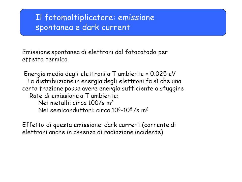 Il fotomoltiplicatore: emissione spontanea e dark current Emissione spontanea di elettroni dal fotocatodo per effetto termico Energia media degli elet