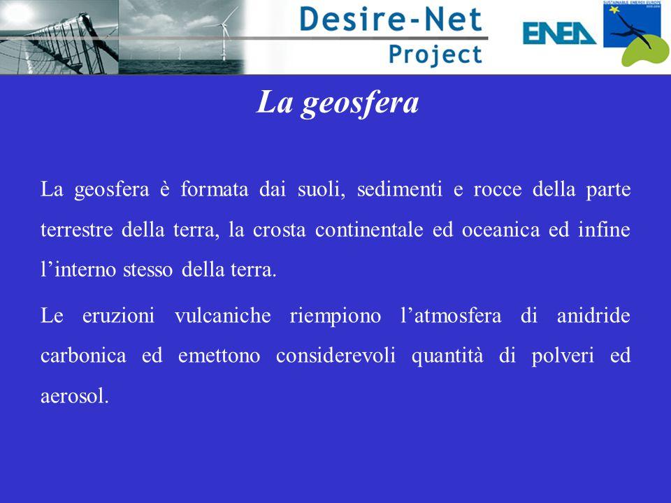 La geosfera La geosfera è formata dai suoli, sedimenti e rocce della parte terrestre della terra, la crosta continentale ed oceanica ed infine l'interno stesso della terra.