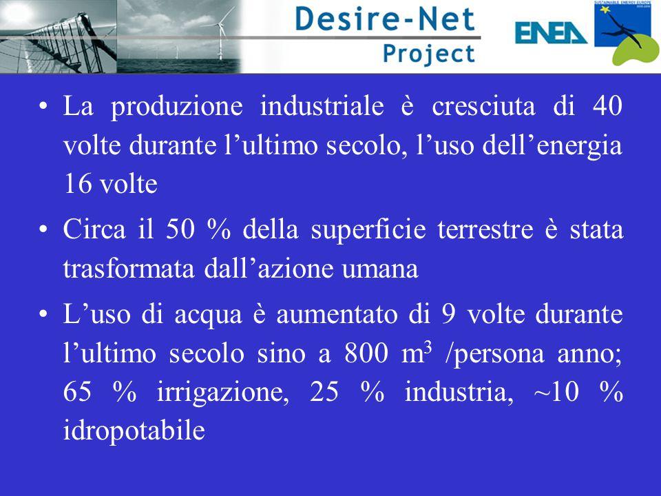 La produzione industriale è cresciuta di 40 volte durante l'ultimo secolo, l'uso dell'energia 16 volte Circa il 50 % della superficie terrestre è stat