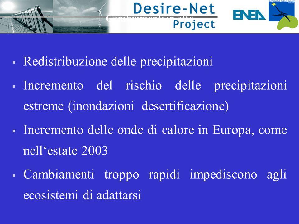  Redistribuzione delle precipitazioni  Incremento del rischio delle precipitazioni estreme (inondazioni desertificazione)  Incremento delle onde di calore in Europa, come nell'estate 2003  Cambiamenti troppo rapidi impediscono agli ecosistemi di adattarsi Cambiamenti in atto