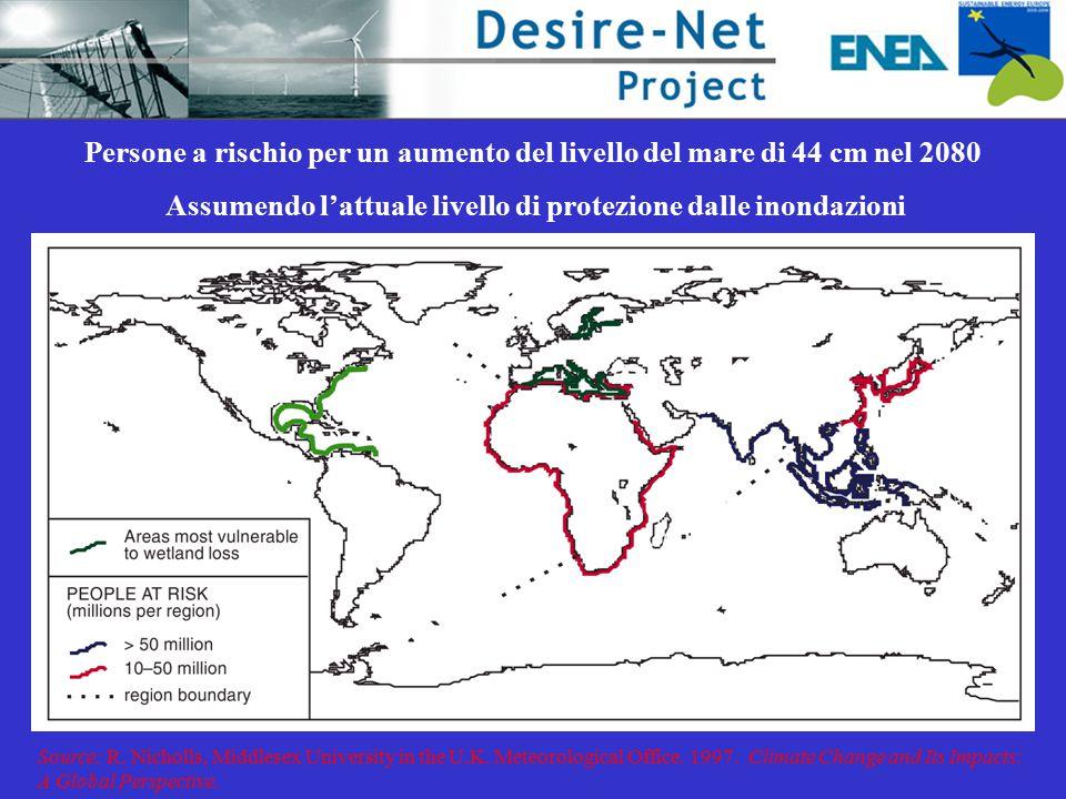 Persone a rischio per un aumento del livello del mare di 44 cm nel 2080 Assumendo l'attuale livello di protezione dalle inondazioni Source: R.