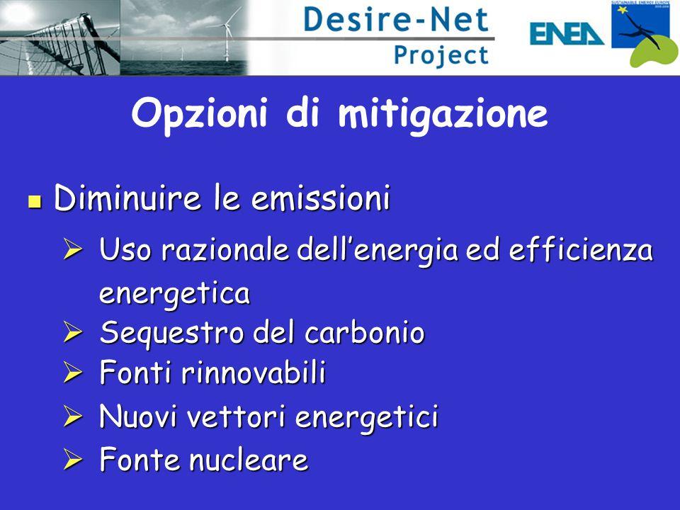 Diminuire le emissioni Diminuire le emissioni  Uso razionale dell'energia ed efficienza energetica  Sequestro del carbonio  Fonti rinnovabili  Nuovi vettori energetici  Fonte nucleare Opzioni di mitigazione
