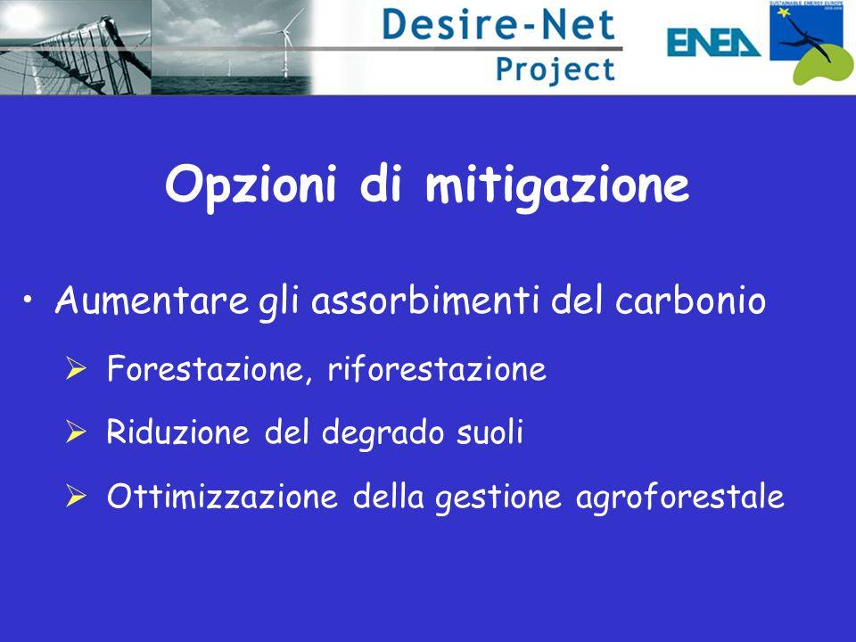 Aumentare gli assorbimenti del carbonio  Forestazione, riforestazione  Riduzione del degrado suoli  Ottimizzazione della gestione agroforestale
