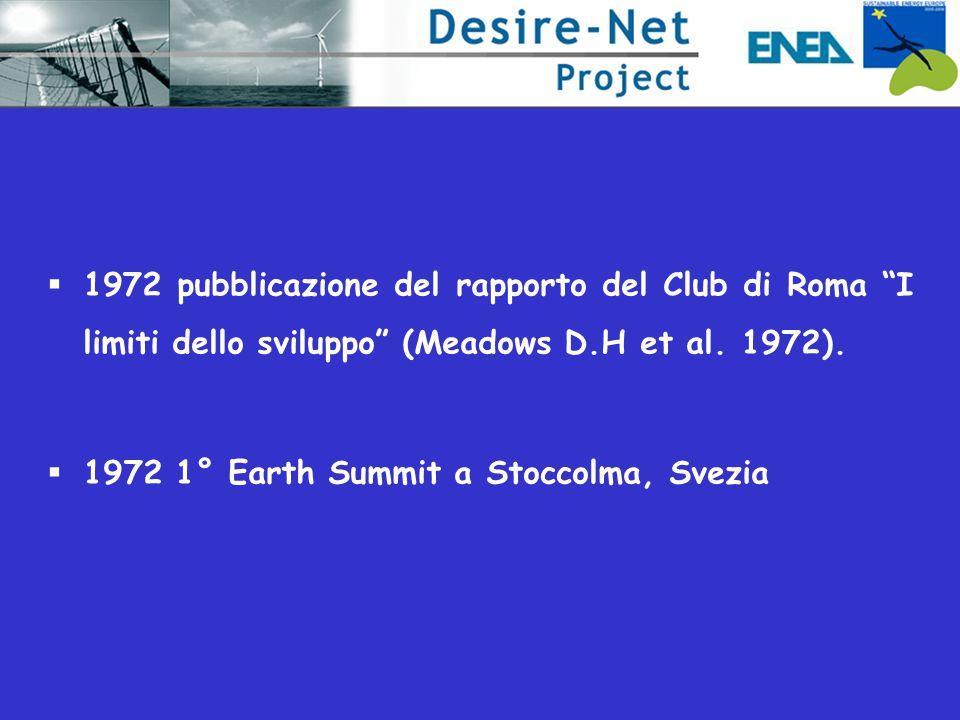 """ 1972 pubblicazione del rapporto del Club di Roma """"I limiti dello sviluppo"""" (Meadows D.H et al. 1972).  1972 1° Earth Summit a Stoccolma, Svezia"""