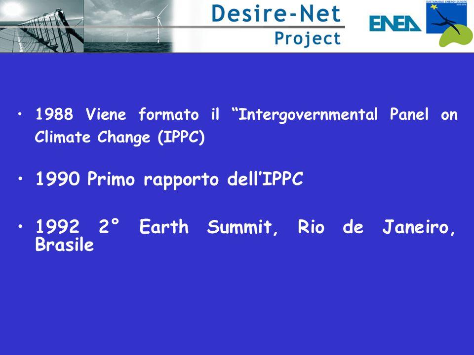 1988 Viene formato il Intergovernmental Panel on Climate Change (IPPC) 1990 Primo rapporto dell'IPPC 1992 2° Earth Summit, Rio de Janeiro, Brasile