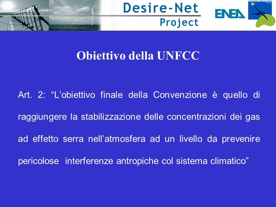 """Obiettivo della UNFCC Art. 2: """"L'obiettivo finale della Convenzione è quello di raggiungere la stabilizzazione delle concentrazioni dei gas ad effetto"""