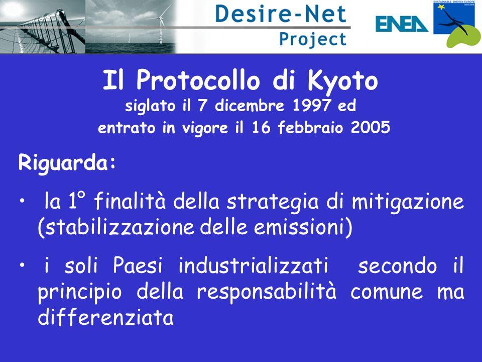 Il Protocollo di Kyoto siglato il 7 dicembre 1997 ed entrato in vigore il 16 febbraio 2005 Riguarda: la 1° finalità della strategia di mitigazione (st