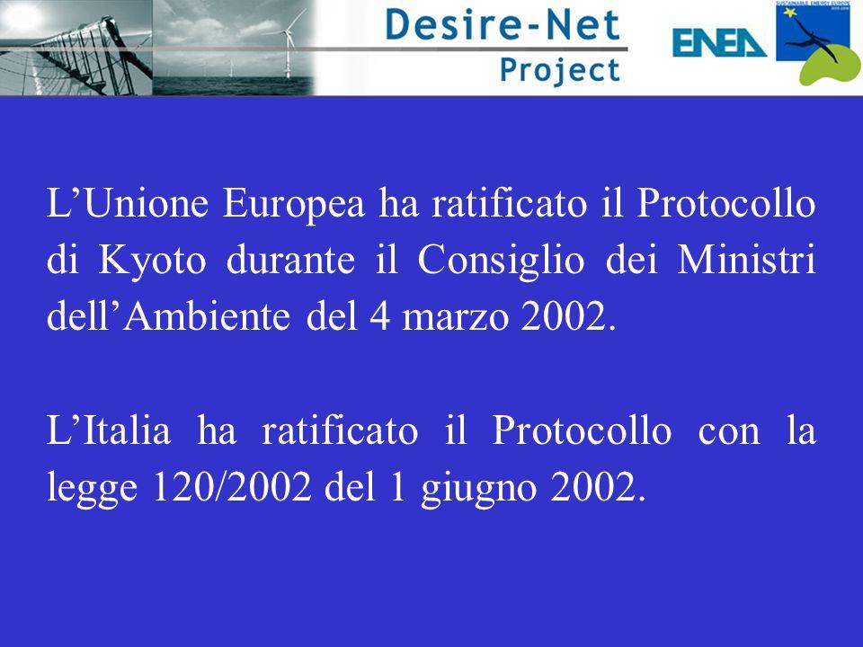 L'Unione Europea ha ratificato il Protocollo di Kyoto durante il Consiglio dei Ministri dell'Ambiente del 4 marzo 2002. L'Italia ha ratificato il Prot