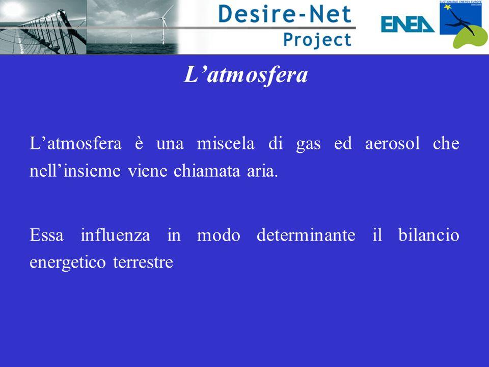 L'atmosfera L'atmosfera è una miscela di gas ed aerosol che nell'insieme viene chiamata aria. Essa influenza in modo determinante il bilancio energeti
