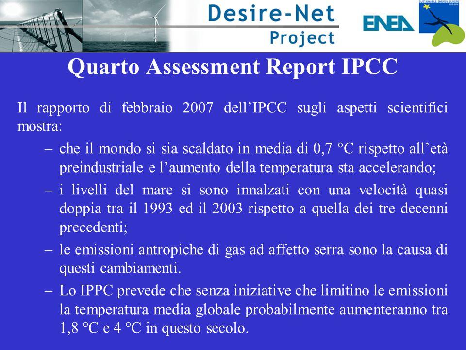 Quarto Assessment Report IPCC Il rapporto di febbraio 2007 dell'IPCC sugli aspetti scientifici mostra: –che il mondo si sia scaldato in media di 0,7 °C rispetto all'età preindustriale e l'aumento della temperatura sta accelerando; –i livelli del mare si sono innalzati con una velocità quasi doppia tra il 1993 ed il 2003 rispetto a quella dei tre decenni precedenti; –le emissioni antropiche di gas ad affetto serra sono la causa di questi cambiamenti.
