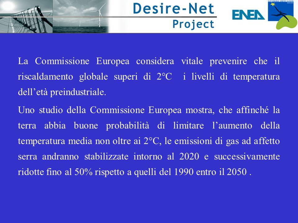 La UE La Commissione Europea considera vitale prevenire che il riscaldamento globale superi di 2°C i livelli di temperatura dell'età preindustriale.