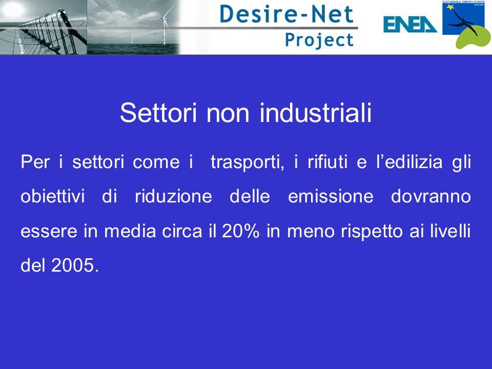 Settori non industriali Per i settori come i trasporti, i rifiuti e l'edilizia gli obiettivi di riduzione delle emissione dovranno essere in media circa il 20% in meno rispetto ai livelli del 2005.