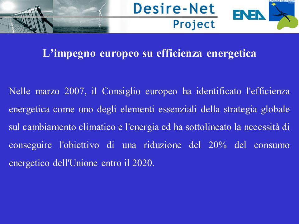 L'impegno europeo su efficienza energetica Nelle marzo 2007, il Consiglio europeo ha identificato l efficienza energetica come uno degli elementi essenziali della strategia globale sul cambiamento climatico e l energia ed ha sottolineato la necessità di conseguire l obiettivo di una riduzione del 20% del consumo energetico dell Unione entro il 2020.