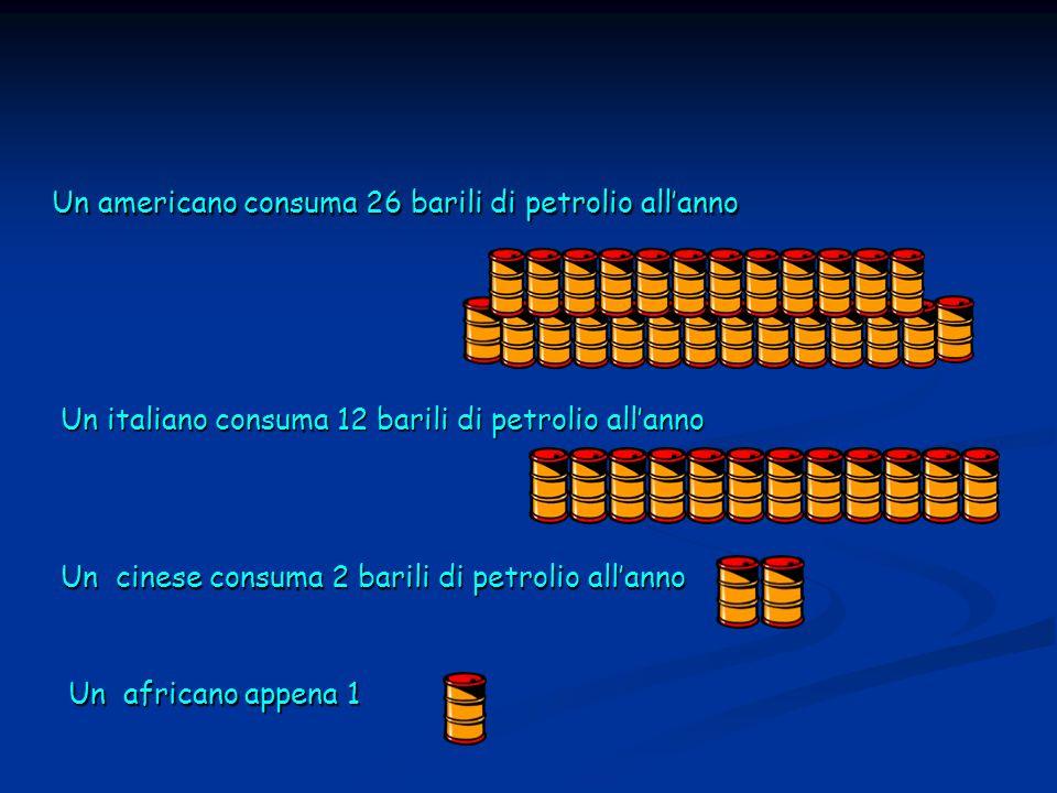 Un americano consuma 26 barili di petrolio all'anno Un italiano consuma 12 barili di petrolio all'anno Un cinese consuma 2 barili di petrolio all'anno Un africano appena 1