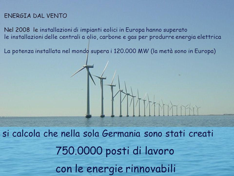 si calcola che nella sola Germania sono stati creati 750.0000 posti di lavoro con le energie rinnovabili Energia dal vento ENERGIA DAL VENTO Nel 2008 le installazioni di impianti eolici in Europa hanno superato le installazioni delle centrali a olio, carbone e gas per produrre energia elettrica La potenza installata nel mondo supera i 120.000 MW (la metà sono in Europa)